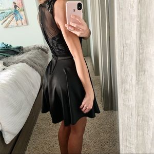 Mesh Satin Formal Lace Dress